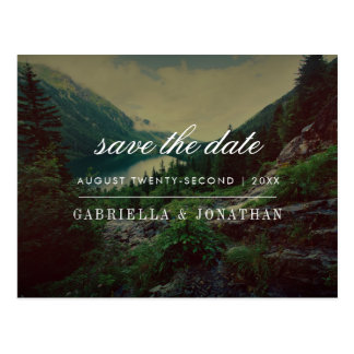 Romantic Pines, Mountains & Lake | Save The Date Postcard