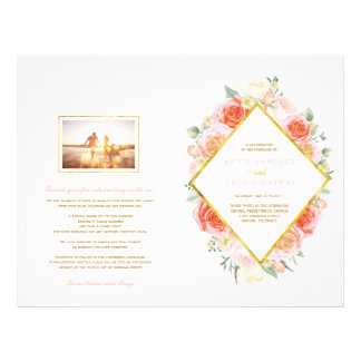 Romantic Pink and Coral Roses Wedding Programs