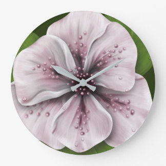 Romantic Pink and Wine flower Large Clock