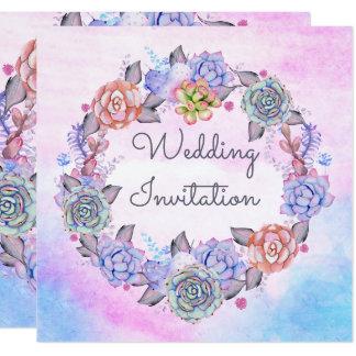 Romantic Pink Blue Watercolor Succulents Wedding Card