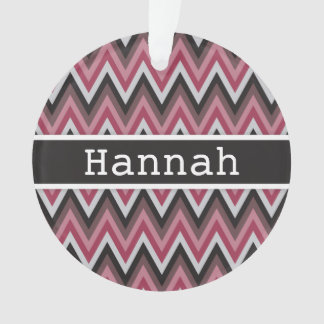 Romantic Pink Brown Chevron with Name Ornament