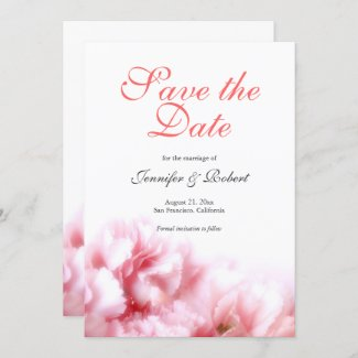 Romantic Pink Carnations Save the Date Invitation