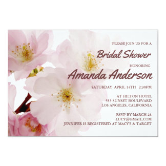 Romantic Pink Cherry Blossoms Bridal Shower Card