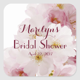 Romantic Pink Cherry Blossoms Bridal Shower Custom Square Sticker