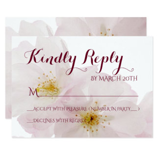 Romantic Pink Cherry Blossoms Spring Wedding RSVP Card
