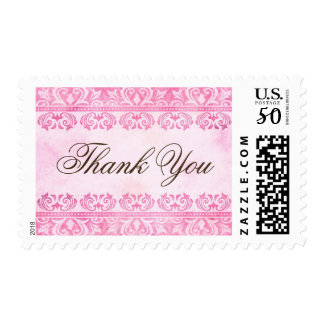 Romantic pink damask Thank You postage stamps