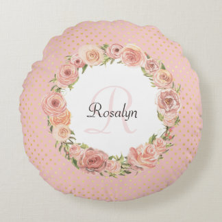 Romantic Pink Dotted Rose Floral Monogrammed Name Round Pillow
