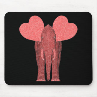 Romantic Pink Elephant Mouse Pad