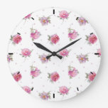 Romantic Pink Floral Dot Watercolor Pattern Large Clock