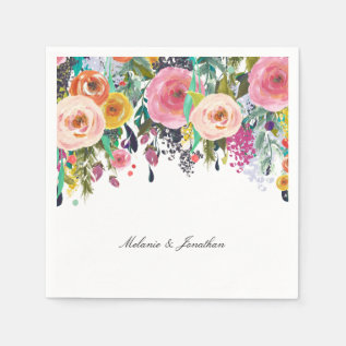 Romantic Pink Floral Garden Watercolor Paper Napkin at Zazzle