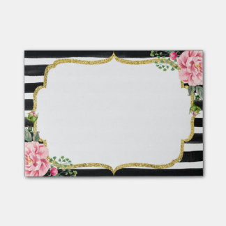 Romantic Pink Floral Watercolor Stripes Gold Frame Post-it® Notes