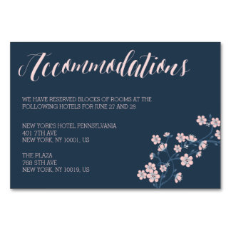 Romantic Pink Floral Wedding Accommodation Cards