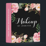 """Romantic Pink Floral Wedding Makeup Beauty Salon Mini Binder<br><div class=""""desc"""">================= ABOUT THIS DESIGN ================= Wedding Makeup Beauty Salon Romantic Floral Mini Binder. (1) You are able to CHANGE the Background to Any Color you like by clicking the &quot;Customize it&quot; button and setting the background color. (2) All text style, colors, sizes can also be modified to fit your needs....</div>"""