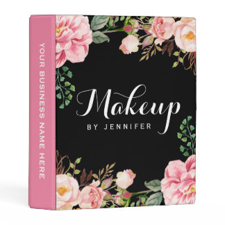 Romantic Pink Floral Wedding Makeup Beauty Salon Mini Binder