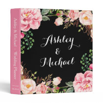 Romantic Pink Floral Wreath Wedding Planner 3 Ring Binder
