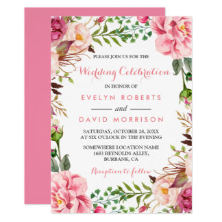 Romantic Pink Floral Wreath Wrap Formal Wedding Card