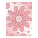 Romantic pink flower and dots postcard