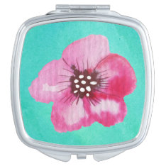 Romantic Pink Flower Aqua Blue Watercolor Mirror For Makeup at Zazzle
