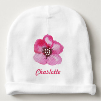 Romantic Pink Flower Watercolor Custom Name Baby Beanie