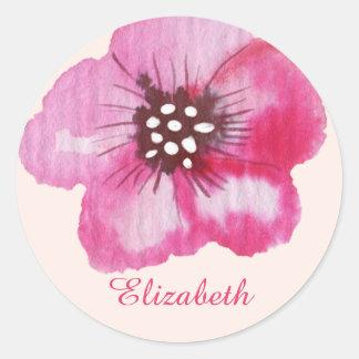 Romantic Pink Flower Watercolor Customizable Classic Round Sticker