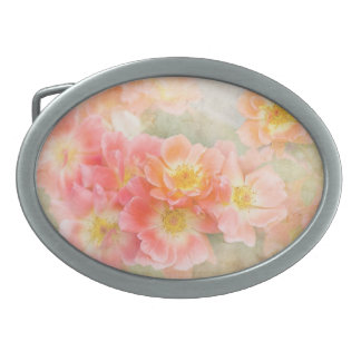 Romantic Pink Flowers, Pastel Florals Oval Belt Buckle