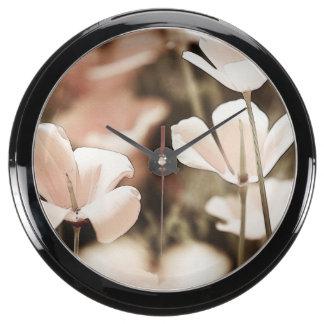 Romantic Pink Flowers Photograph, Nature Forals Aqua Clocks