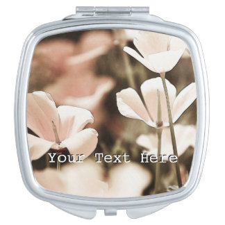 Romantic Pink Flowers Photograph, Nature Forals Makeup Mirrors