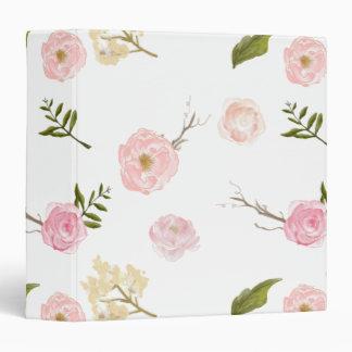 Romantic Pink Garden Watercolor Floral Binder