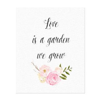 Romantic Pink Garden Watercolor Floral Canvas Print