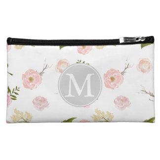 Romantic Pink Garden Watercolor Floral Monogram Makeup Bag