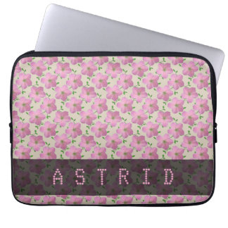 Romantic Pink Geranium Flowers any Text any Color Laptop Sleeve