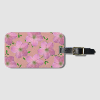 Romantic Pink Geranium Flowers on any Color Luggage Tag