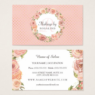 Romantic Pink Gold Dots Rose Floral Makeup Artist Business Card