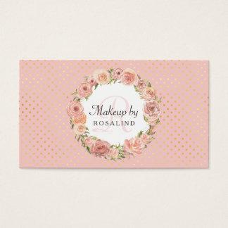 Romantic Pink Gold Dots Rose Floral Makeup Artist Business Card