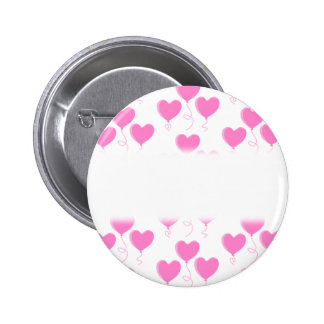 Romantic Pink Heart Balloons Pattern. Pinback Buttons