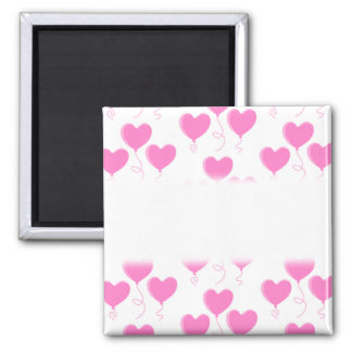 Romantic Pink Heart Balloons Pattern. 2 Inch Square Magnet
