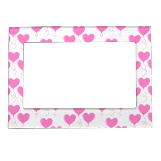 Romantic Pink Heart Balloons Pattern. Magnetic Picture Frame