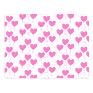 Romantic Pink Heart Balloons Pattern. Postcards