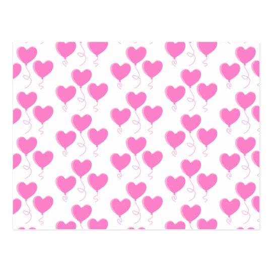 Romantic Pink Heart Balloons Pattern. Postcard