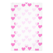 Romantic Pink Heart Balloons Pattern. Stationery