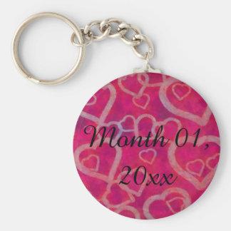 Romantic Pink Heart Design Basic Round Button Keychain