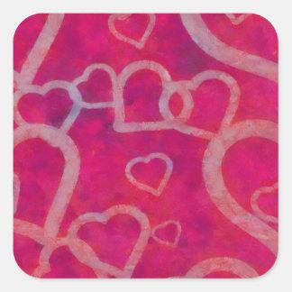 Romantic Pink Heart Design Square Sticker