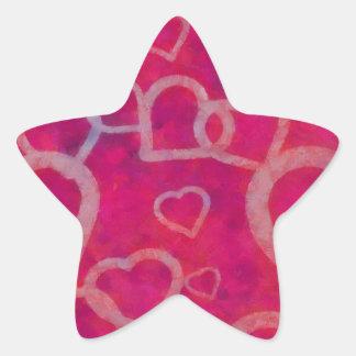 Romantic Pink Heart Design Star Sticker