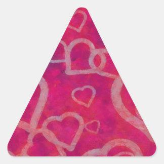 Romantic Pink Heart Design Triangle Sticker