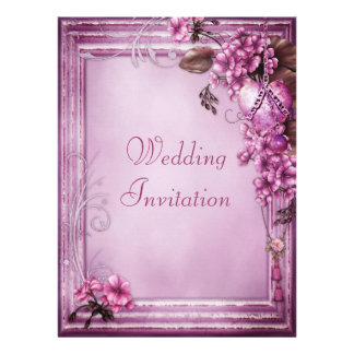 Romantic Pink Heart Flowers Frame Linen Wedding Personalized Invitations