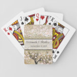 Romantic Pink Heart Leaf Tree Wedding Playing Cards