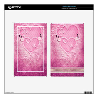 Romantic Pink Hearts Personalized Kindle Skin
