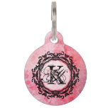 Romantic Pink Old Rose Chic Pattern Pet ID Tag