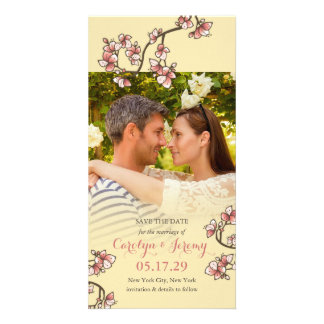 Romantic Pink Peach Blossoms Save The Date Card