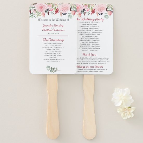 Romantic Pink Peonies and Eucalyptus Wedding Hand Fan